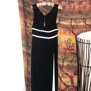 BCBG black and white gown